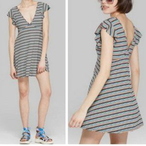WILD FABLE Rainbow Striped Flutter Sleeve Dress S